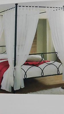 Four Poster Bed Curtains Drapes 8 Curtains Ready Made Voile 4 Poster Curtains