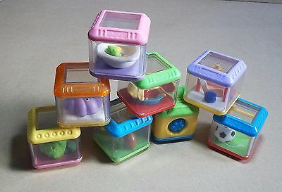 8 Fisher-Price Peek-A-Boo Blocks Sensory Cubes Early Years Baby Infant Discovery