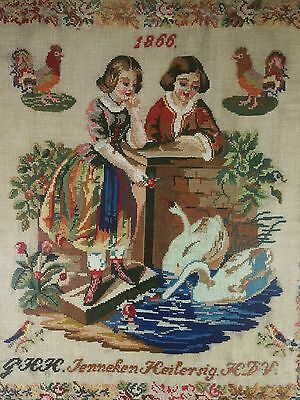 "Antique Sampler 1866 Needlepoint Rare ! Dutch ! LARGE 25""x 19""  w bead work"