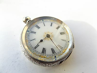 """Antique / Vintage """"CONSTI MATHEY SWISS"""" Sterling Silver Open Face Pocket Watch"""