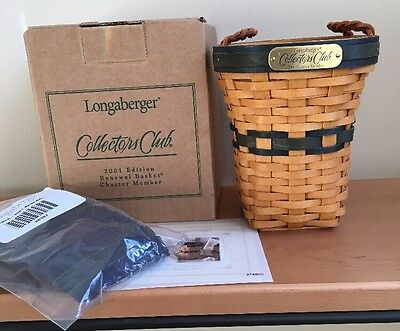 Longaberger Collectors Club 2001 Charter Renewal Basket with Liner & Protector