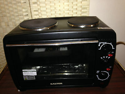 Salter Black Table Top Oven with Two Hobs