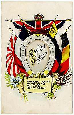 Nice Ww1 Cef Bef British Post Card Flags Of The Allies Birthday Card Signed