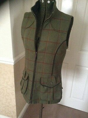 Musto Green Technical Tweed Ladies Gilet With Quilted Lining Size 12