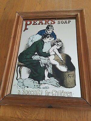 ❤ Vintage Pears Soap Advertising Picture Mirror ❤