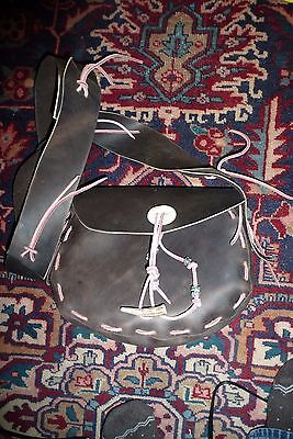 Unisex HANDMADE Brown LEATHER Shoulder Bag with ANTLER & African Trade Beads