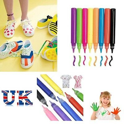 20 Fabric Paint Pen Pens T-Shirt Material Craft Art Kids Children Bags Pencils