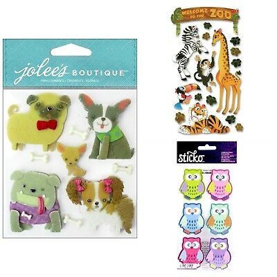 Buy 3 Get 2 FREE Jolee's Boutique Sticko Stickers Animals Birds Dogs Cats