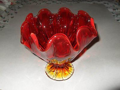 Vtg Antique Glass Compote Dish Bowl Pedestal Amberina Ruby Red w/Amber Gold Base