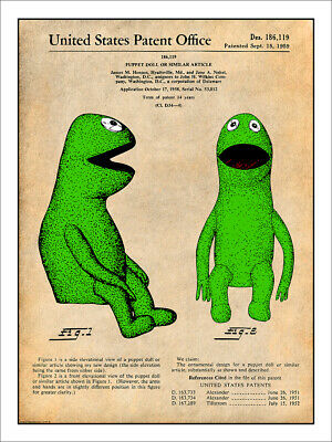 1959 Kermit the Frog Patent Print Colorized Art Drawing Poster 18X24