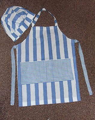 new CHILDREN APRON AND HAT BLUE AND WHITE STRIPED  HOME MADE