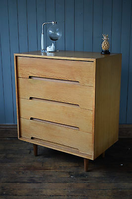 Vintage Mid Century Stag Blonde Oak Tallboy Chest Of Drawers Retro CAN DELIVER