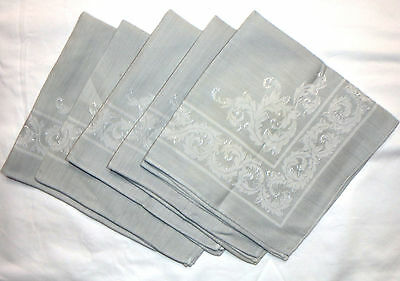 "5 pc Vintage Damask Cloth Napkins   Soft Grey  16"" x 16"""