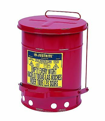 Justrite 09100; Galvanized-steel; Safety cans; For Oily waste; Red; Foot Oper...