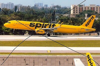 Civil Aircraft Photo Photograph Spirit Airlines Airbus A321 Plane Picture.