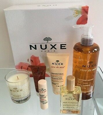 NUXE Boxed Gift Set Shampoo, 30ml Huile Prodigieuse, Candle, Lip Balm, Cleanser