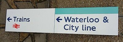 Waterloo and city line, trains, london underground station sign, enamel on metal