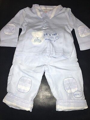 Kris X Kids Baby Boys Blue Top And Trouser Set. 6-9 Months.