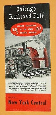 ***vintage 1948 New York Central Chicago Railroad Fair Advertising Brochure**