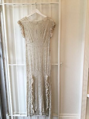 Vintage 1920s green silk maxi dress embroidered floral short sleeve wedding S