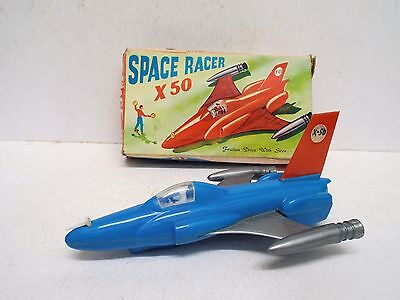 RARE 1960s SPACE RACER X-50 SPACESHIP FRICTION POWERED WITH SIREN BOXED (A56)