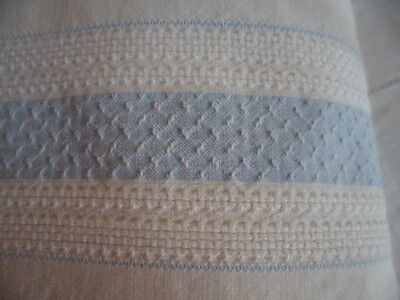 Antique Vintage Counterpane Old Bed Spread White Blue Embroidered Cotton Cover
