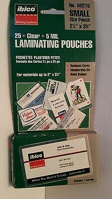 Ibico - 25 Clear Laminating Pouches 5 Mil -  Small #50215
