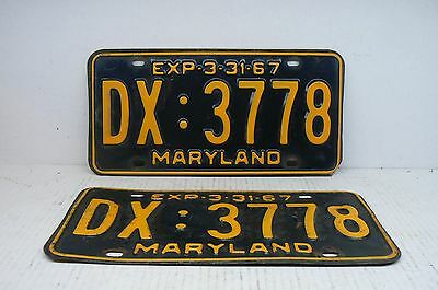 Matched Pair 1967 Maryland License Plates