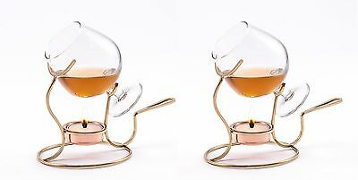 Old Dutch 7 by 4-Inch Brandy Warmer with Tea Light and Glass Snifter, Set 2