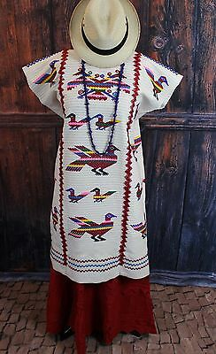 Traditional Hand Woven & Embroidered Chinantec Huipil Oaxaca Mexico Hippie Boho