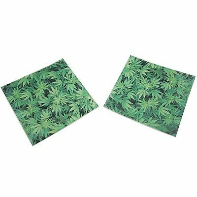 """100 Pre-Cut Green Weed Leaf Parchment Paper Oil Non Stick Square 4 x 4"""" PP-009"""