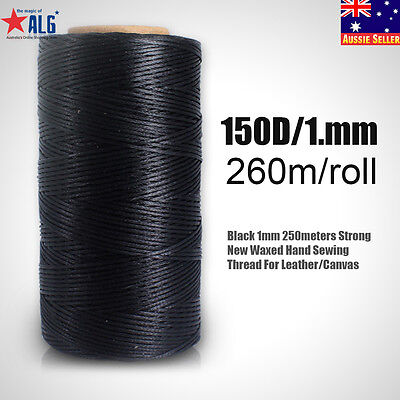 Black 1mm 260meters Strong New Waxed Hand Sewing Thread For Leather/Canvas