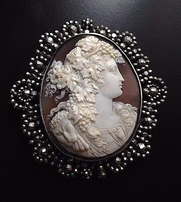 XX Fine Huge Antique Shell Cameo of Bacchante in Silver and Cut Steel Frame