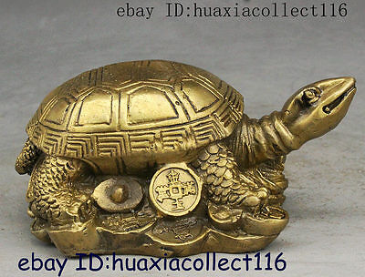 Fengshui China Brass Yuanbao Money Rich Longevity Turtle Tortoise Animal Statue