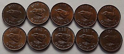 10 Different Great Britain Wren Farthings 1937 - 1954! All Lustreous!
