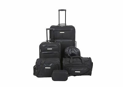 Luggage Set Black 6 Piece Bag Upright Gym Tote Toiletry Laundry Polyester Travel