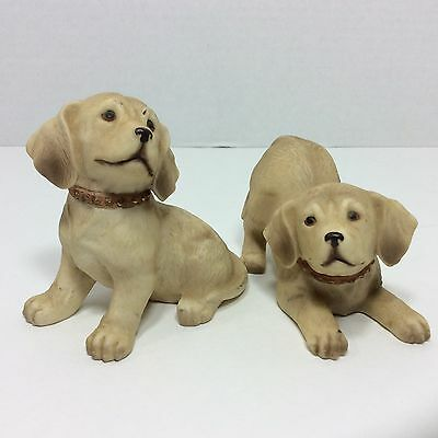 Pair of Homco Lab Labrador Puppies Dogs Figurines Bisque Porcelain #1408