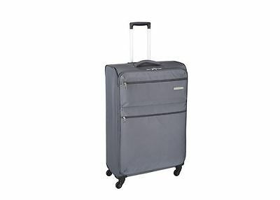 Luggage Bag Case Grey Soft Lightweight Polyester Travel Suitcase Wheels Trolley