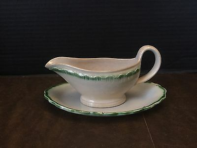 Antique LEEDS English GREEN Feather Edge Creamware Sauce Boat With Under plate