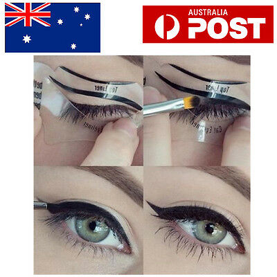 2Pcs Top Bottom Eyeliner Stencil Smokey and Cat Eye Shaping Liner Makeup Stencil