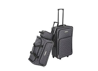 Luggage Bag Set 3 Piece Grey Wheels Upright Duffle Handle Toiletry Travel Cart
