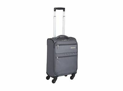 Luggage Bag Soft Case Grey Lightweight Polyester Travel Suitcase Wheels Trolley