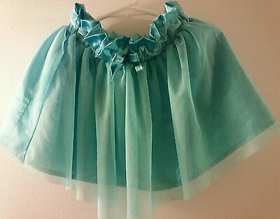 Crazy 8 Girls Sz 2 Toddler Skirt Kids Years Solid Teal Blue 100% Polyester Mesh
