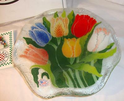 """Beautiful Peggy Karr Fused Glass Fluted Bowl, 9"""" - Estate Find!  (17-1)"""
