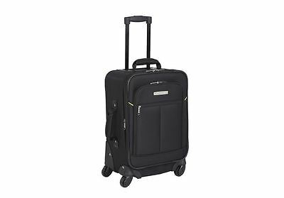 Luggage Bag Case Black Soft Lightweight Travel Suitcase Wheels Trolley 47.5cm