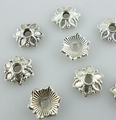 160/1300 Tibetan Silver 7mm Charm Flower End Bead Caps Jewelry Beading Findings