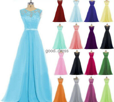 New Lace Bridesmaid Chiffon Formal Prom Party Ball Gown Evening Dress Size 6-22