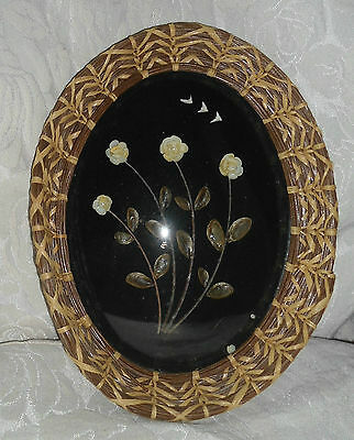 """Vintage Shell Art in 10"""" by 8"""" Oval Frame of Woven Seagrass with Convex Glass"""