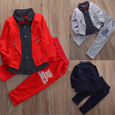 2Pcs Baby Boys Kids Shirt Tops+Long Pants Clothes Outfits Gentleman Set Ornate