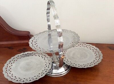 Vintage Silver Chrome High Tea 3 Tier Cake Stand - Made in England